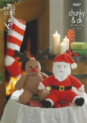 King Cole - 9007 Santa & Rudolph Toys and Stocking Knitting Pattern